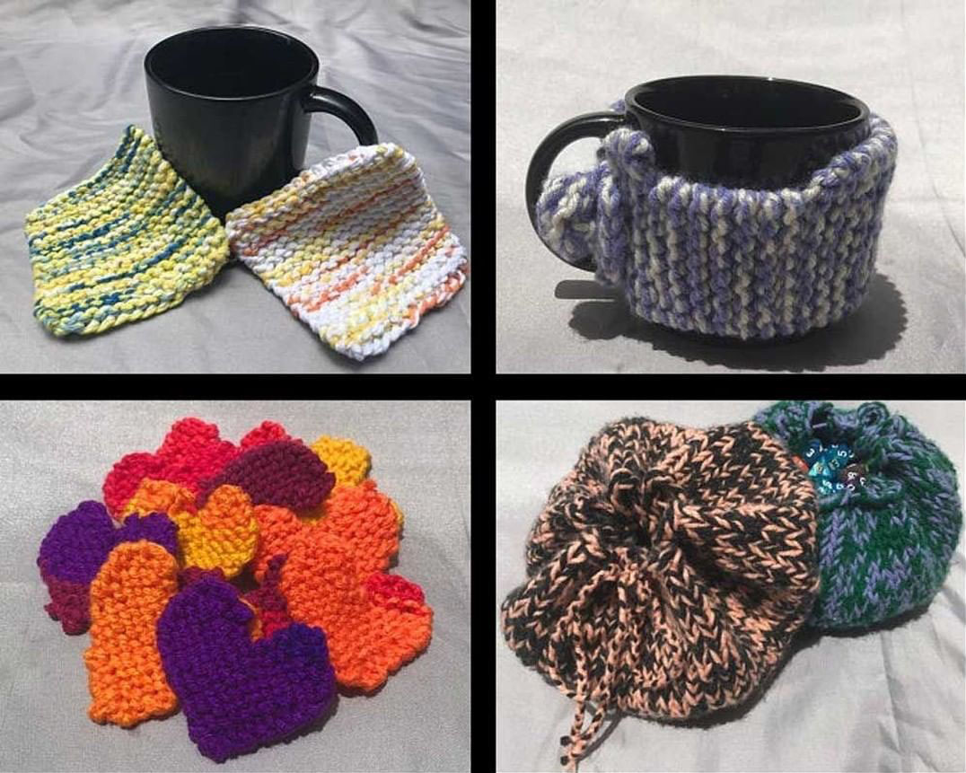 Coasters, mug koozie, hearts, dice bags from Knits By Lizzy
