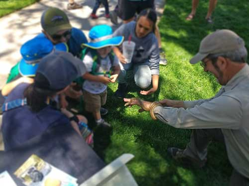 Pipsqueak the Gophersnake meets a family at Continental Divide Trail Days 2019, photographed by Jeff Smith