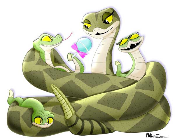Illustration of a three baby rattlesnakes snuggled in mama's coils by Mike Essa